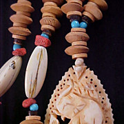Hand Carved BONE ELEPHANT ~  Native American Colorful  Long Necklace