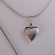 Silver Plate Floral Embossed LOCKET ~ Double Silver Plate Chain