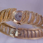 SHEFFIELD ~ Swiss Made Gold Plate Intricate  BRACELET Watch ~ Shock Resistant