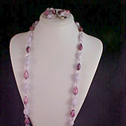 Circa 1940's PURPLE~LILAC & LAVENDER Necklace & Clip Ears~Made in W. Germany