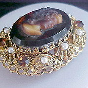 ~Uncommon TOPAZ  CAMEO ~Simulated Pearls~Topaz Rhinestone Made in W Germany Brooch