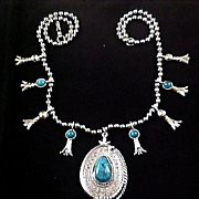 SQUASH BLOSSOM~by ART  Swirled Simulated Turquoise Silver Plate Necklace