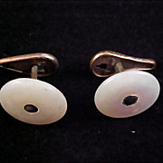 1904 MOTHER-of-PEARL Mens Cuff Links -Gilt Gold Button