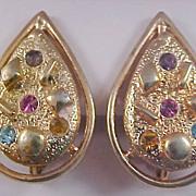 Multi Rhinestone  Pear Shape SARAH COV Gold Plate Clip Earrings