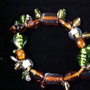 Glass Beads - Greens & Topaz Expandable Bracelet