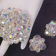 1960's Heavy Crystal~Brooch & Clip Earrings ~Aurora Borealis