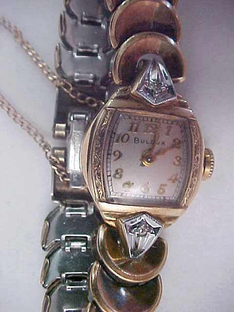 BULOVA Swiss ~1/20 12K Gold Fill  KREISLER Band 2 Diamond 1950's Watch/with Safety Chain