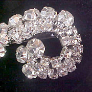 Free Ship~ART DECO Clear Crystals & Diamante Chatons Silver  Rhodium Plate Brooch