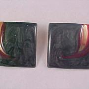 Green~Red~~Gold Hard  Enamel Square Clip- Earrings