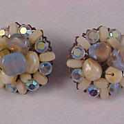 West Germany Hand Wired Cluster Clip  Earrings