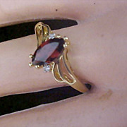 Simulated GARNET  Marquis  Birthstone~Diamante~Gold Plate Size 10 1/4 Ring