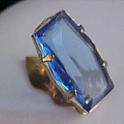 Amazing Blue CZECH Glass &  Brass Old Dress Clip
