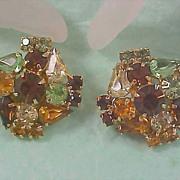 DeLizza & Elster JULIANA  Multi R.S. topaz-Amber-Peridot Clip Earring