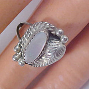 Sterling Silver Genuine Abalone Pearl Ornate Ring