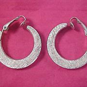AVON Textured Silver Plate HOOP Clip Earrings