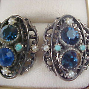 Blue Rhinestone~Faux Pearl & Turquoise Antiqued Gold Plate Clip Earrings