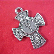 ITALY~4-Way Catholic Miraculous Crucifix Medal~Silver Plate