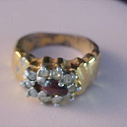 Dark Red Rhinestone~Diamante COCKTAIL~Silver & Gold Tone Ring~Size 6 3/4.