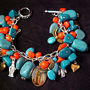 Meticulous ~GUADALUPE Turquoise Howlite & Coral Hearts & Angels CHUNKY Religious Bracelet