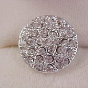 1930's Pave` Diamante` Silver Plate Intricate Button