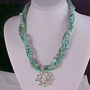 Turquoise~Native American Style ~ 3 Strand Torsade & Silver Plate Necklace