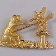 Gold Plate Figural FROG & BUMBLE BEE  Trademarked JJ Brooch