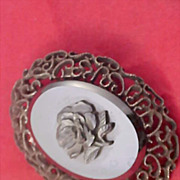 Lavish Glass Cameo & Silver Plate Rose Antiqued Silver Plate Filigree Brooch/Pendant