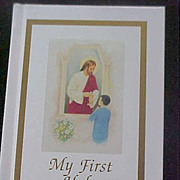 Boy's FIRST COMMUNION Prayer Book Jesus Distributing Communion