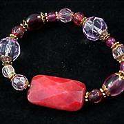 ARTISAN ~ Lavish Crystal & Faceted Carnelian Agate Expandable Bracelet