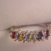 Five Baguette Birthstones Paste Silver Plate Ring~Size 8 1/2