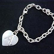 "Charming HEART ~ Diamante` ~ Initial ""A""Charm Silver Plate Bracelet"