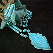 Scintillating  Native American Style Turquoise AGATE  Hand Crafted Drop & Bead Necklace