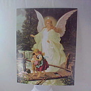 Classic GUARDIAN ANGEL & Children Crossing the Bridge Print for Framing - Red Tag Sale Item