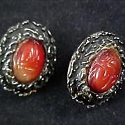 CARNELIAN Genuine SCARAB Antiqued Gold Plate Clip Earrings