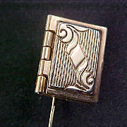 Engraved LOCKET Gold Plate Stick Pin