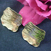 Contemporary  Gold Plate 1950's Mid Century Clip Earrings