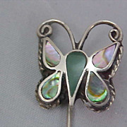 Mexico Silver ABALONE Butterfly Stick Pin