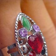 ART DECO Multi-Rhinestone Silver Plate Ring