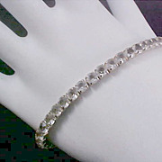 FREE Ship  ~ Clear Crystals ETERNITY Silver Plated Bracelet