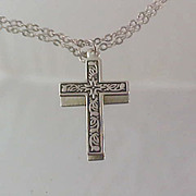 1940's Silver Plate Cross & Chain Chased Engraved Design