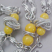 Yellow Beads &Silver Tone Rope Paper Clip  Silver Tone Double Strand Necklace