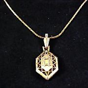 Diamond Shaped open Gold Plate Pendant & Chain