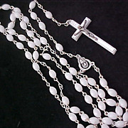 ITALIAN Simulated Mother-of-Pearl Silver Tone metal & MOP Cross ROSARY