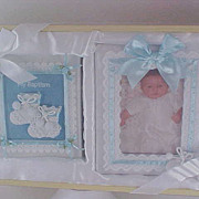 GIFT ~ Baby BAPTISM &  SATIN FRAME For photograph~  Satin & Bootie Gift Box Set