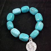Free Ship  ~ Exquisite Color Enhanced TURQUOISE  HOWLITE Silver Plate Capped Expandable Bracelet~68.7 grams
