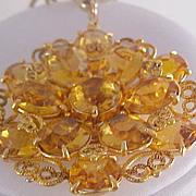 CITRINE Swarovski Crystals & Filigree Workmanship Medallion & Chain Necklace