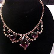 Reduced~ART DECO Showstopper Dark AMETHYST Art Glass & LAVENDER  Chaton Bib Necklace