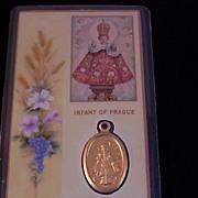 Infant JESUS of PRAGUE Gold Plate Medal & Prayer Card