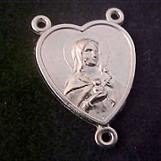 Our LADY of  Sorrows & Sacred Heart of JESUS  3-Way Center Medal ~ Silver plate