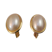 NAPIER ~ Oval Creamy Faux Pearl Clip/Screw Comfort Gold plate Earrings